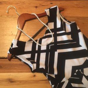 Covington Black and White A-line Dress